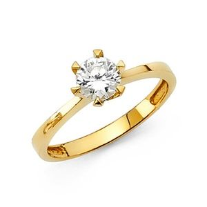 14K 6-Prong Solitaire Round-Cut CZ Wedding Ring